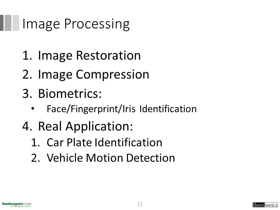 Image Processing 1.Image Restoration 2.Image Compression 3.Biometrics: Face/Fingerprint/Iris Identification 4.Real Application: 1.Car Plate Identification 2.Vehicle Motion Detection 13
