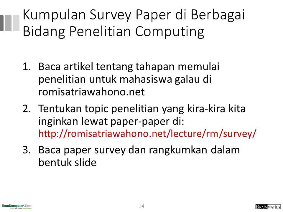 Kumpulan Survey Paper di Berbagai Bidang Penelitian Computing 1.Baca artikel tentang tahapan memulai penelitian untuk mahasiswa galau di romisatriawah