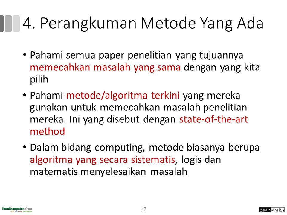4. Perangkuman Metode Yang Ada Pahami semua paper penelitian yang tujuannya memecahkan masalah yang sama dengan yang kita pilih Pahami metode/algoritm
