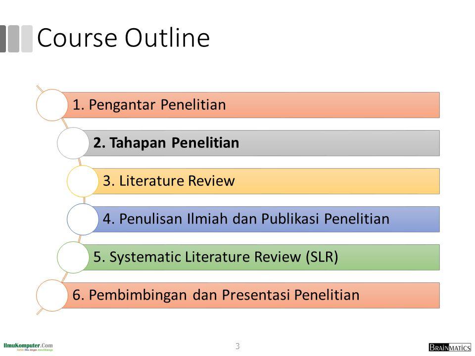 Course Outline 3 1. Pengantar Penelitian 2. Tahapan Penelitian 3. Literature Review 4. Penulisan Ilmiah dan Publikasi Penelitian 5. Systematic Literat