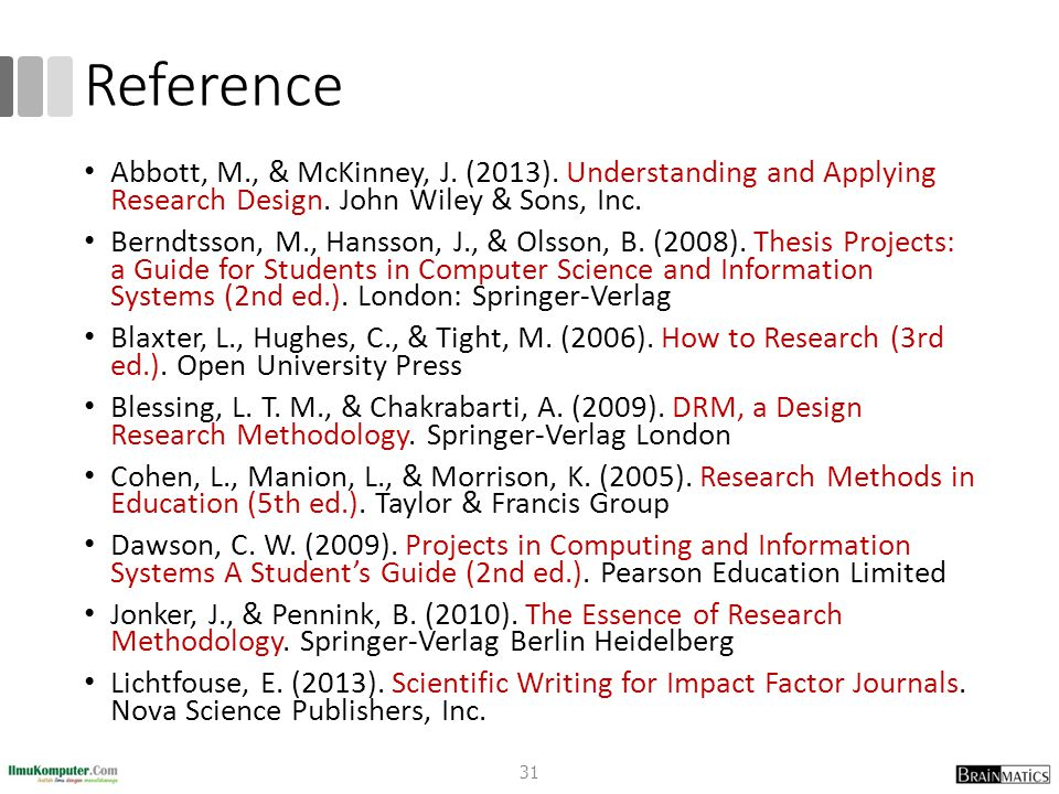 Reference Abbott, M., & McKinney, J. (2013). Understanding and Applying Research Design. John Wiley & Sons, Inc. Berndtsson, M., Hansson, J., & Olsson