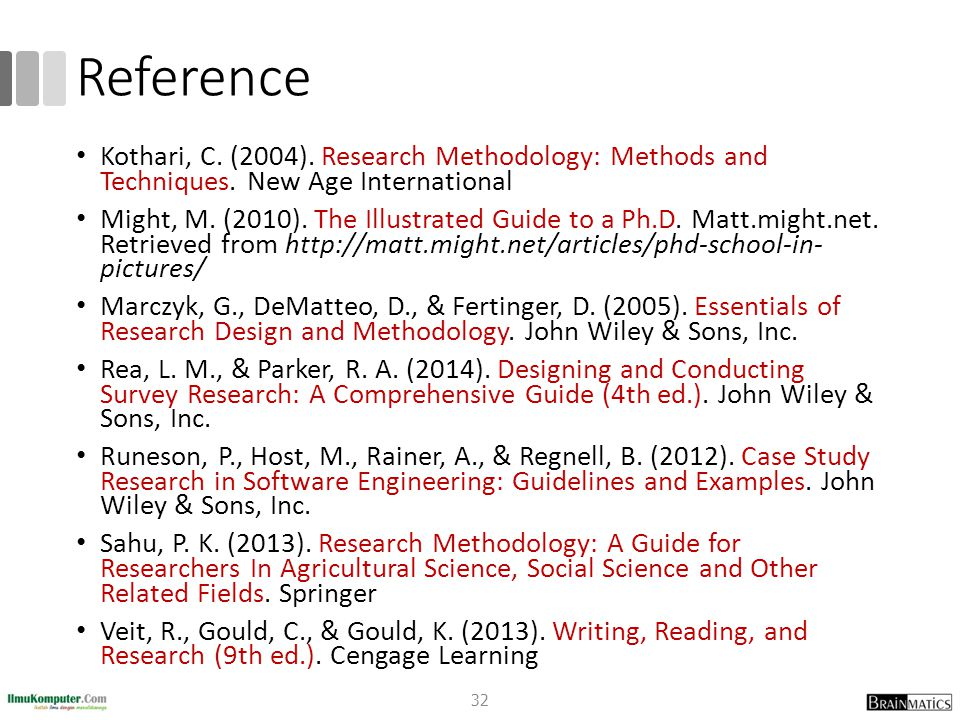 Reference Kothari, C. (2004). Research Methodology: Methods and Techniques. New Age International Might, M. (2010). The Illustrated Guide to a Ph.D. M