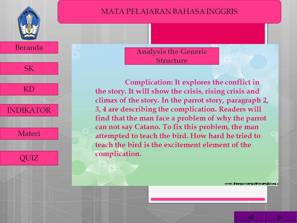 MATA PELAJARAN BAHASA INGGRIS Beranda SK KD INDIKATOR Materi QUIZ Analysis the Generic Structure Complication: It explores the conflict in the story.