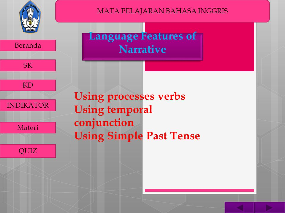 MATA PELAJARAN BAHASA INGGRIS Beranda SK KD INDIKATOR Materi QUIZ Using processes verbs Using temporal conjunction Using Simple Past Tense Language Fe