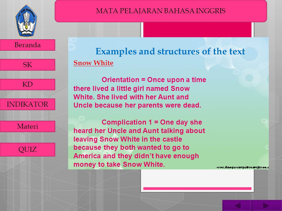 MATA PELAJARAN BAHASA INGGRIS Beranda SK KD INDIKATOR Materi QUIZ Complication 2 = Then she saw this little cottage.