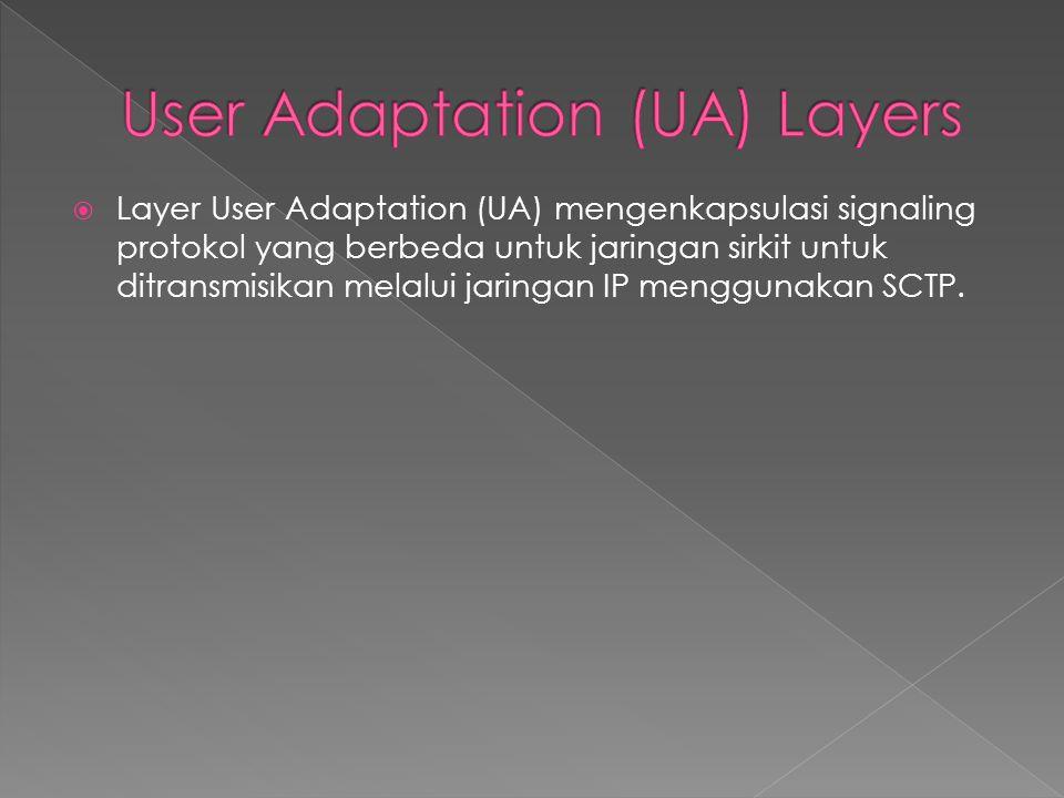  Layer User Adaptation (UA) mengenkapsulasi signaling protokol yang berbeda untuk jaringan sirkit untuk ditransmisikan melalui jaringan IP menggunaka