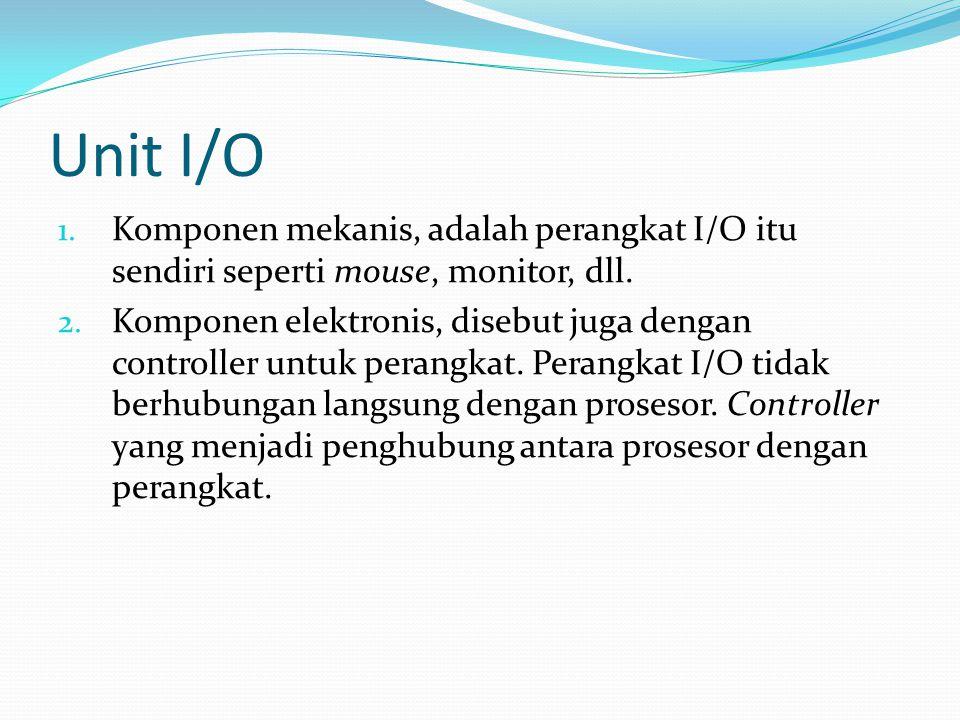 Unit I/O 1. Komponen mekanis, adalah perangkat I/O itu sendiri seperti mouse, monitor, dll. 2. Komponen elektronis, disebut juga dengan controller unt