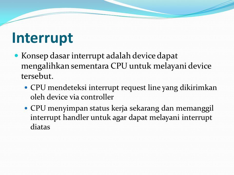 Interrupt Konsep dasar interrupt adalah device dapat mengalihkan sementara CPU untuk melayani device tersebut.