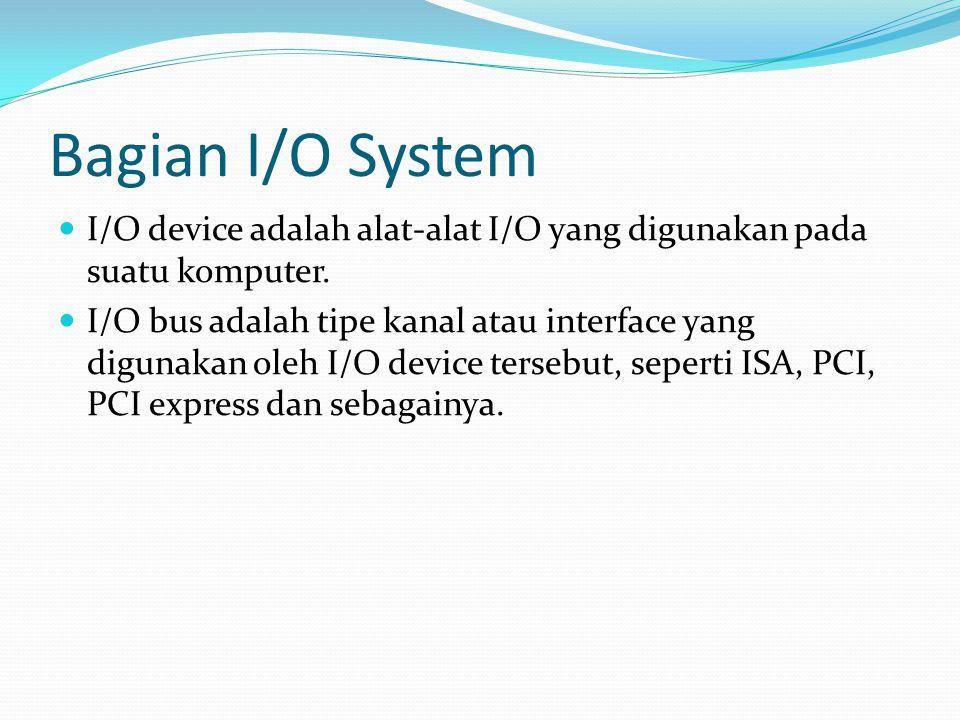 Bagian I/O System I/O device adalah alat-alat I/O yang digunakan pada suatu komputer.