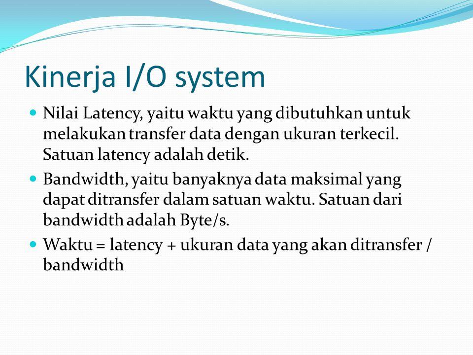 Kinerja I/O system Nilai Latency, yaitu waktu yang dibutuhkan untuk melakukan transfer data dengan ukuran terkecil.
