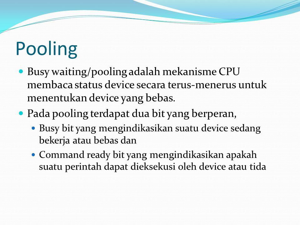 Pooling Busy waiting/pooling adalah mekanisme CPU membaca status device secara terus-menerus untuk menentukan device yang bebas. Pada pooling terdapat