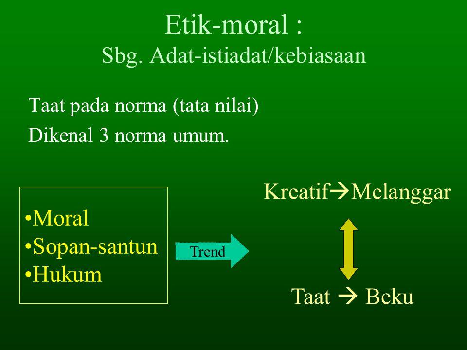 PENGERTIAN ETIKA (Etika & Moral) 3. Etika sebagai ilmu (cabang filsafat) Refleksi kritis rasional moralitas. Etika : tampilan simpanan moral baik-buru
