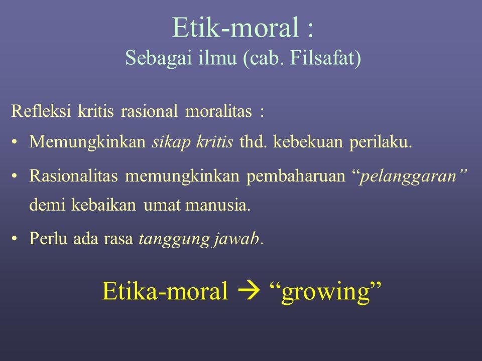 Etik-moral : Sbg. Adat-istiadat/kebiasaan Taat pada norma (tata nilai) Dikenal 3 norma umum. Moral Sopan-santun Hukum Trend Kreatif  Melanggar Taat 