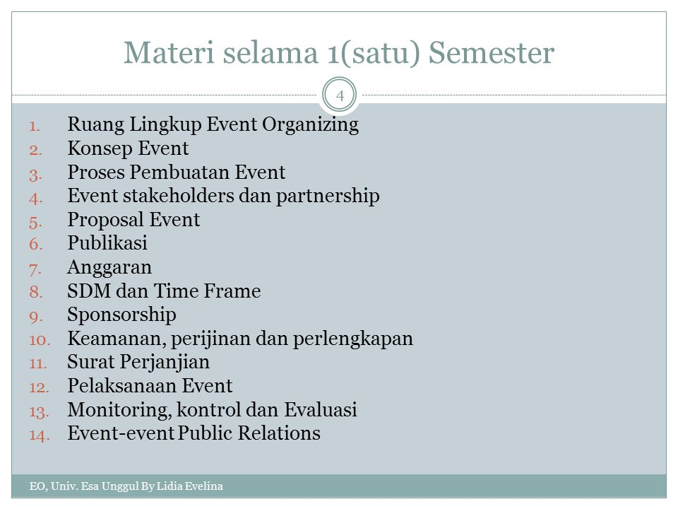Pembagian Event EO, Univ.Esa Unggul By Lidia Evelina 5 1.