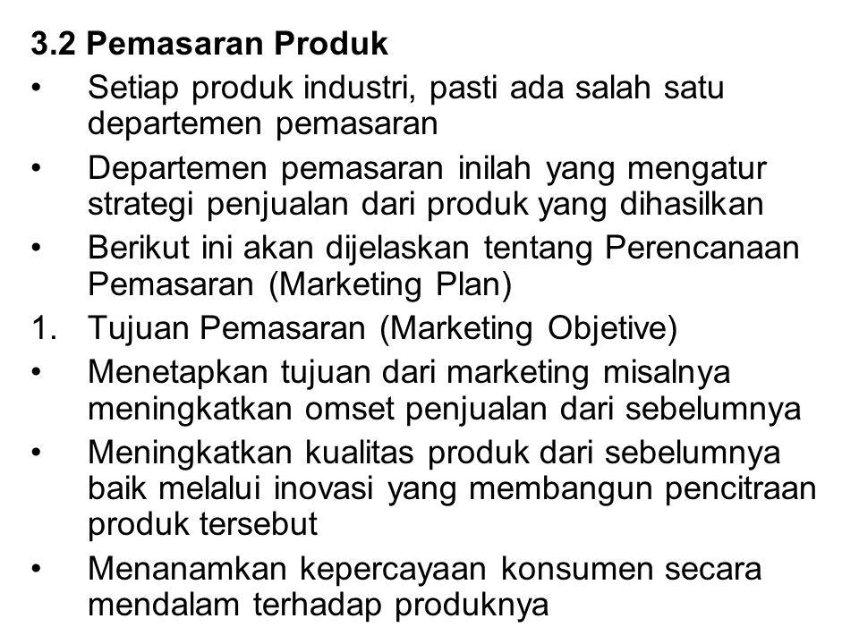 3.2 Pemasaran Produk Setiap produk industri, pasti ada salah satu departemen pemasaran Departemen pemasaran inilah yang mengatur strategi penjualan da