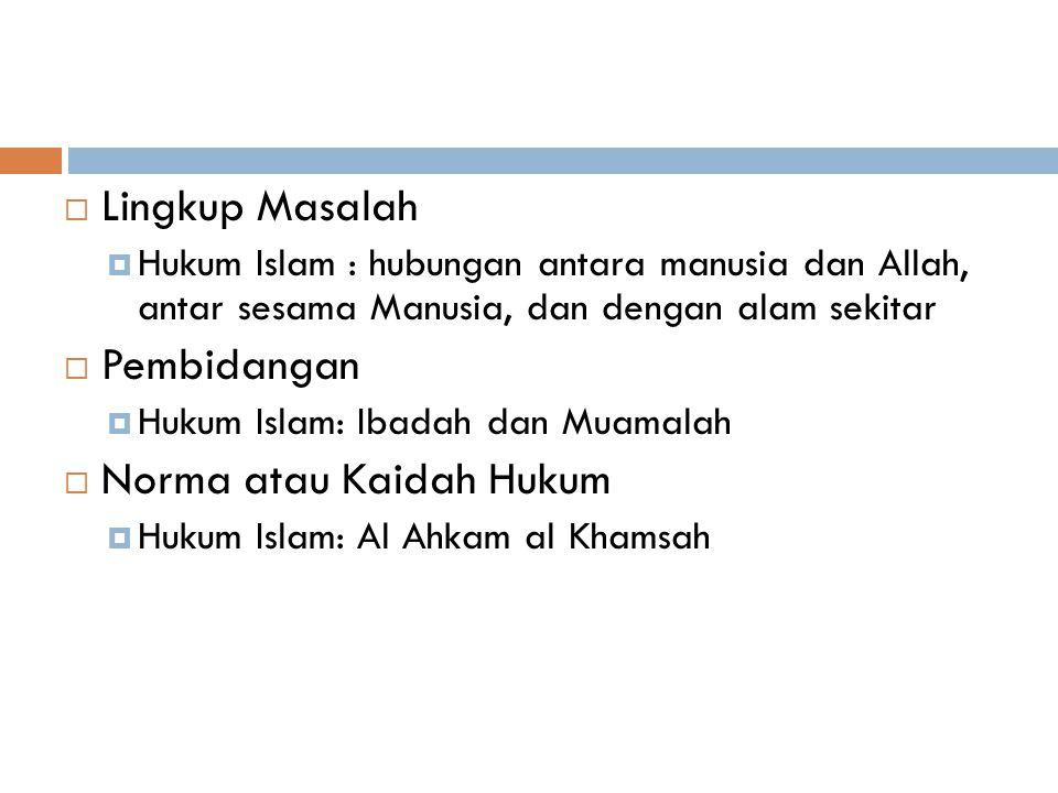  Lingkup Masalah  Hukum Islam : hubungan antara manusia dan Allah, antar sesama Manusia, dan dengan alam sekitar  Pembidangan  Hukum Islam: Ibadah dan Muamalah  Norma atau Kaidah Hukum  Hukum Islam: Al Ahkam al Khamsah