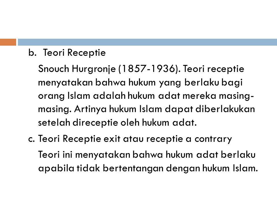 b.Teori Receptie Snouch Hurgronje (1857-1936).
