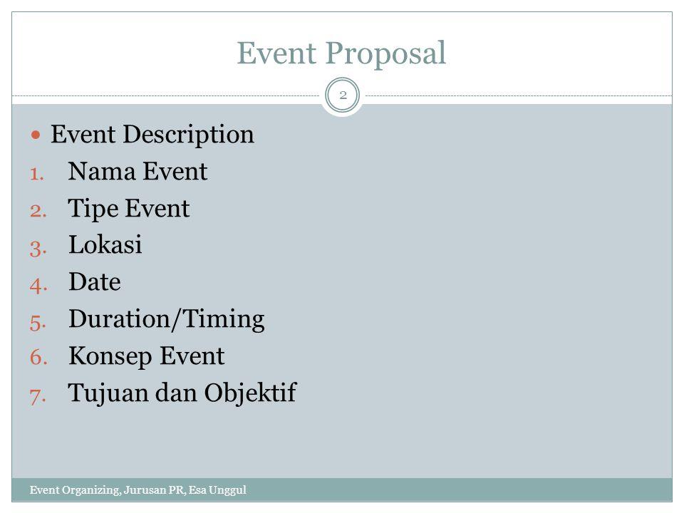 Event Proposal Event Description 1. Nama Event 2. Tipe Event 3. Lokasi 4. Date 5. Duration/Timing 6. Konsep Event 7. Tujuan dan Objektif Event Organiz