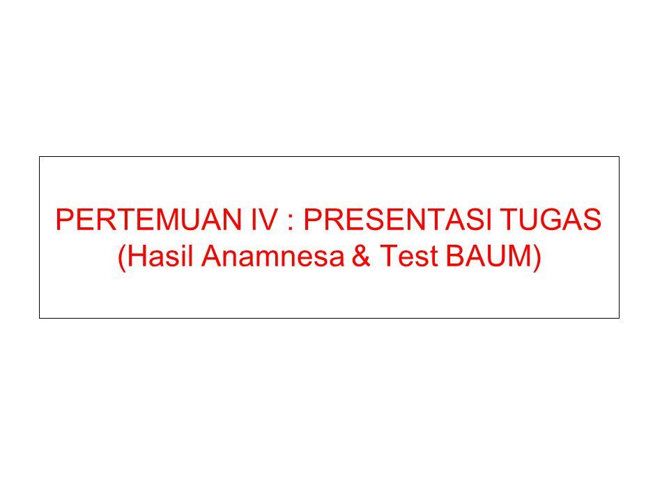 PERTEMUAN IV : PRESENTASI TUGAS (Hasil Anamnesa & Test BAUM)