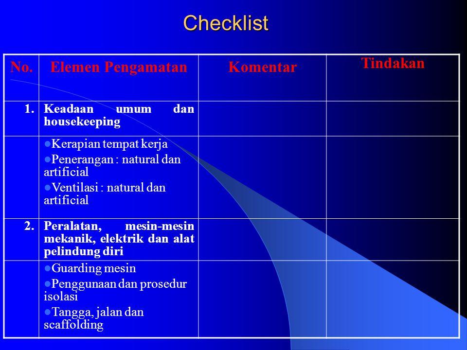 Checklist No.Elemen PengamatanKomentar Tindakan 1.Keadaan umum dan housekeeping Kerapian tempat kerja Penerangan : natural dan artificial Ventilasi :