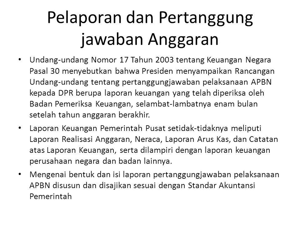 Pelaporan dan Pertanggung jawaban Anggaran Undang-undang Nomor 17 Tahun 2003 tentang Keuangan Negara Pasal 30 menyebutkan bahwa Presiden menyampaikan