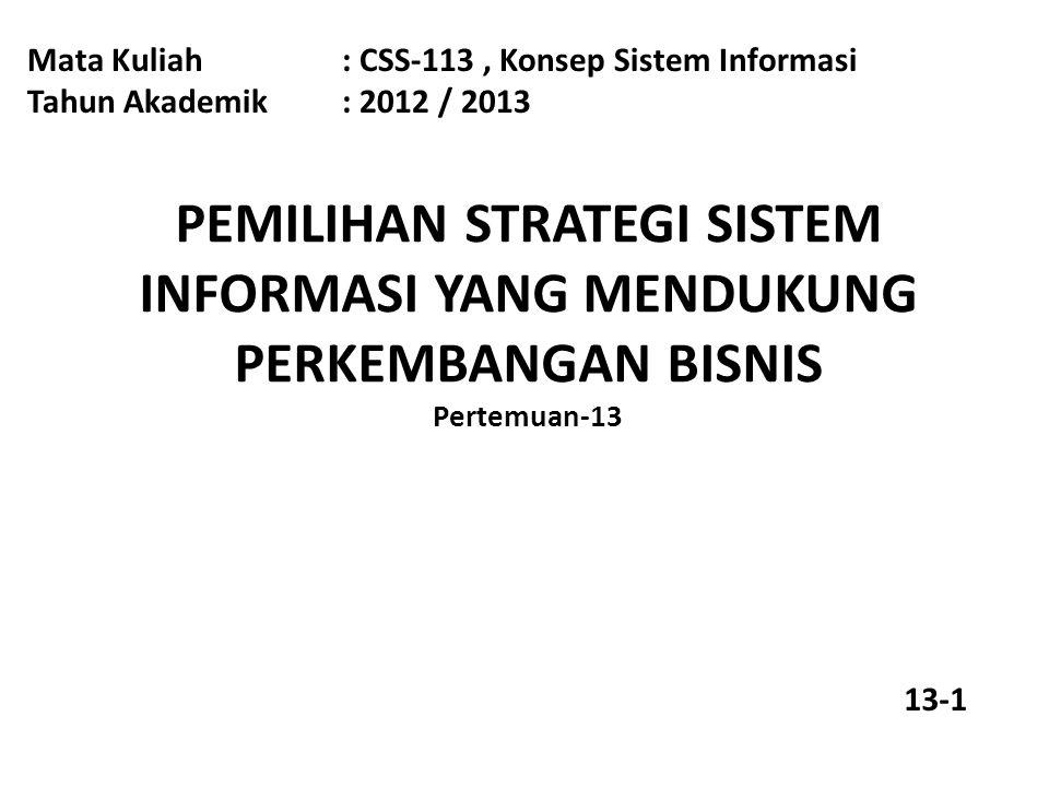 Sasaran Pembelajaran Pada akhir pertemuan ini, diharapkan mahasiswa akan mampu : Memilih strategi sistem informasi yang sesuai dengan perkembangan organisasi Materi Pokok Konsep sistem informasi Strategi pemilihan sistem informasi 13-2