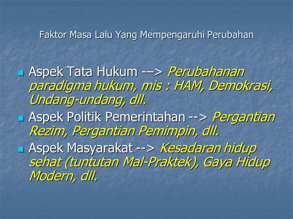 Faktor Masa Lalu Yang Mempengaruhi Perubahan Aspek Tata Hukum -–> Perubahanan paradigma hukum, mis : HAM, Demokrasi, Undang-undang, dll.