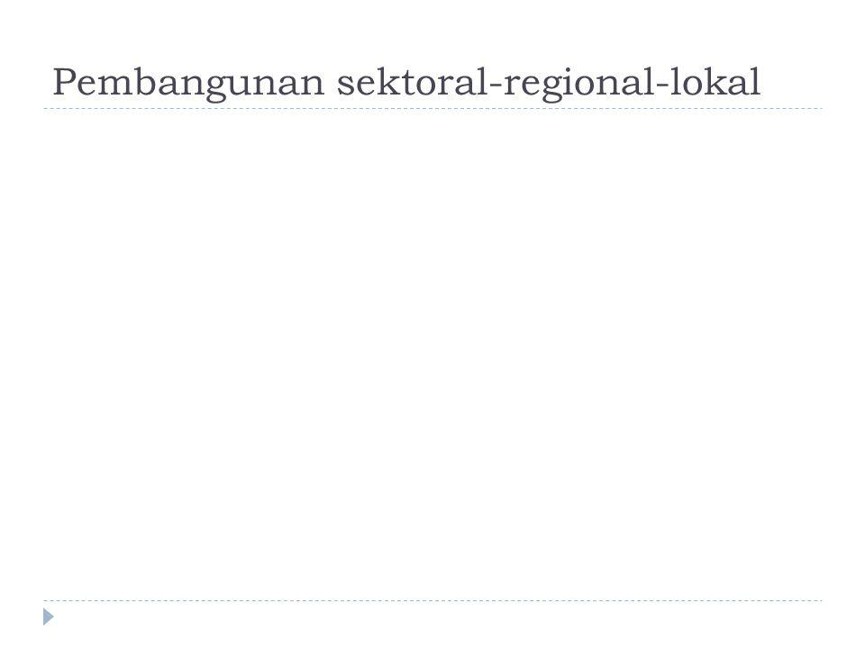 Pembangunan sektoral  Salah satu kebijakan pemerintah yang berkaitan dengan pembangunan ekonomi regional adalah memberikan otonomi kepada daerah untuk menyelenggarakan program-program pembangunan regional,  sehingga seluruh pertanggungjawaban, pengelolaan dan pembiayaannya dilakukan oleh pemerintah daerah.