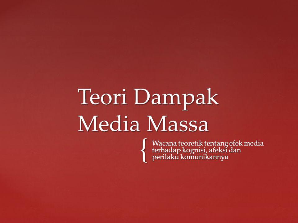 { Wacana teoretik tentang efek media terhadap kognisi, afeksi dan perilaku komunikannya Teori Dampak Media Massa