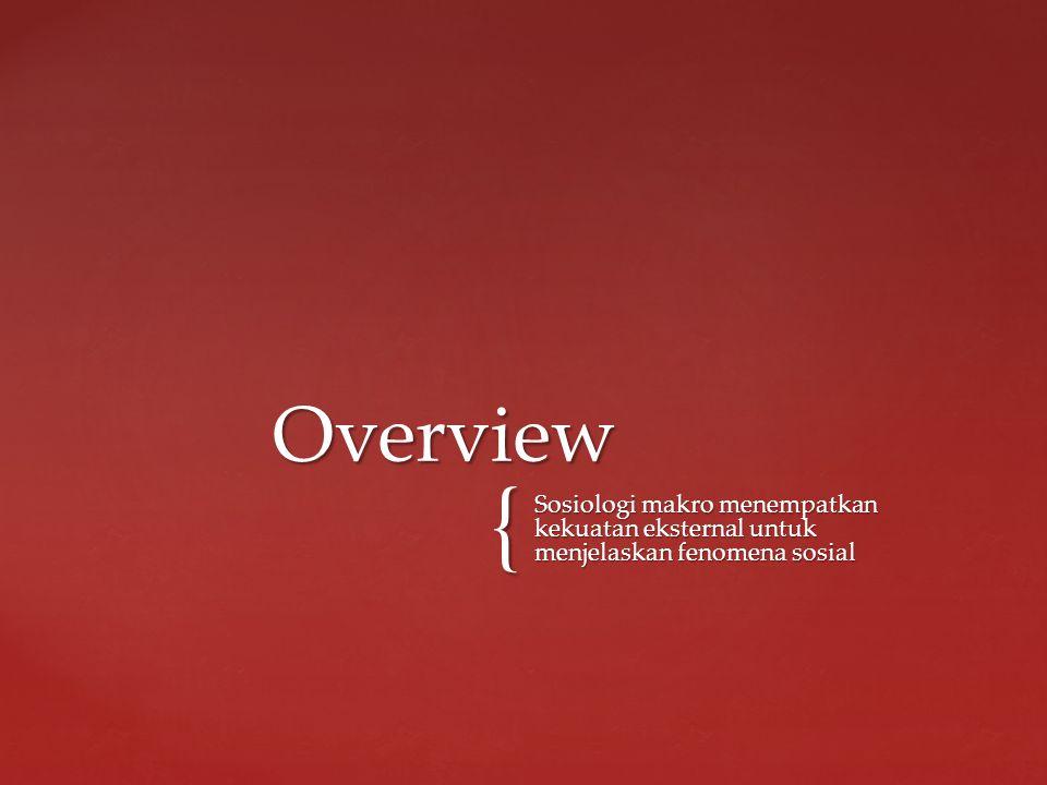 { Sosiologi makro menempatkan kekuatan eksternal untuk menjelaskan fenomena sosial Overview
