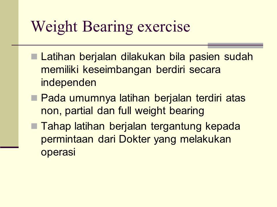 Weight Bearing exercise Latihan berjalan dilakukan bila pasien sudah memiliki keseimbangan berdiri secara independen Pada umumnya latihan berjalan ter