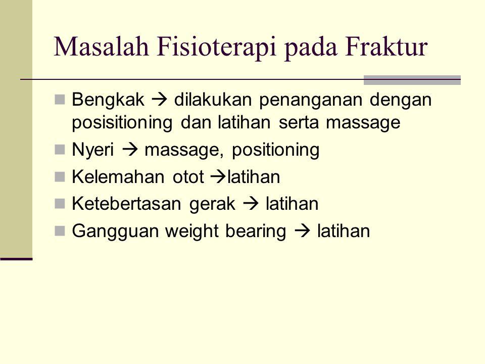 Masalah Fisioterapi pada Fraktur Bengkak  dilakukan penanganan dengan posisitioning dan latihan serta massage Nyeri  massage, positioning Kelemahan