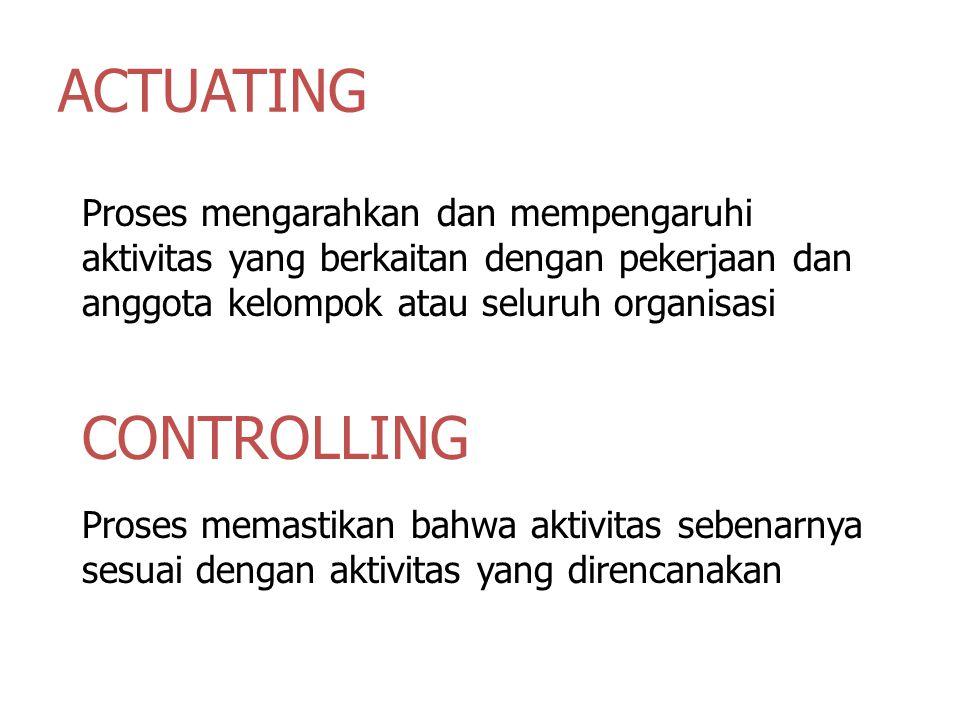 ACTUATING Proses mengarahkan dan mempengaruhi aktivitas yang berkaitan dengan pekerjaan dan anggota kelompok atau seluruh organisasi CONTROLLING Proses memastikan bahwa aktivitas sebenarnya sesuai dengan aktivitas yang direncanakan
