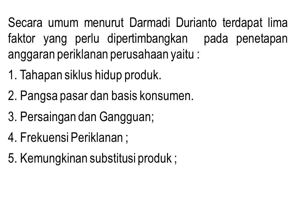 Secara umum menurut Darmadi Durianto terdapat lima faktor yang perlu dipertimbangkan pada penetapan anggaran periklanan perusahaan yaitu : 1. Tahapan