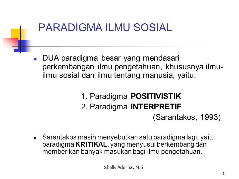 2 Berbeda dengan Sarantakos, DENZIN dan LINCOLN (1994) mengatakan bahwa semua paradigma untuk memahami realitas manusia sebenarnya dapat disebut sebagai paradigma-paradigma interpretif.