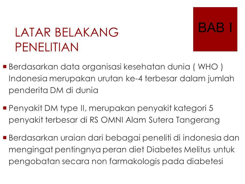 LATAR BELAKANG PENELITIAN  Berdasarkan data organisasi kesehatan dunia ( WHO ) Indonesia merupakan urutan ke-4 terbesar dalam jumlah penderita DM di