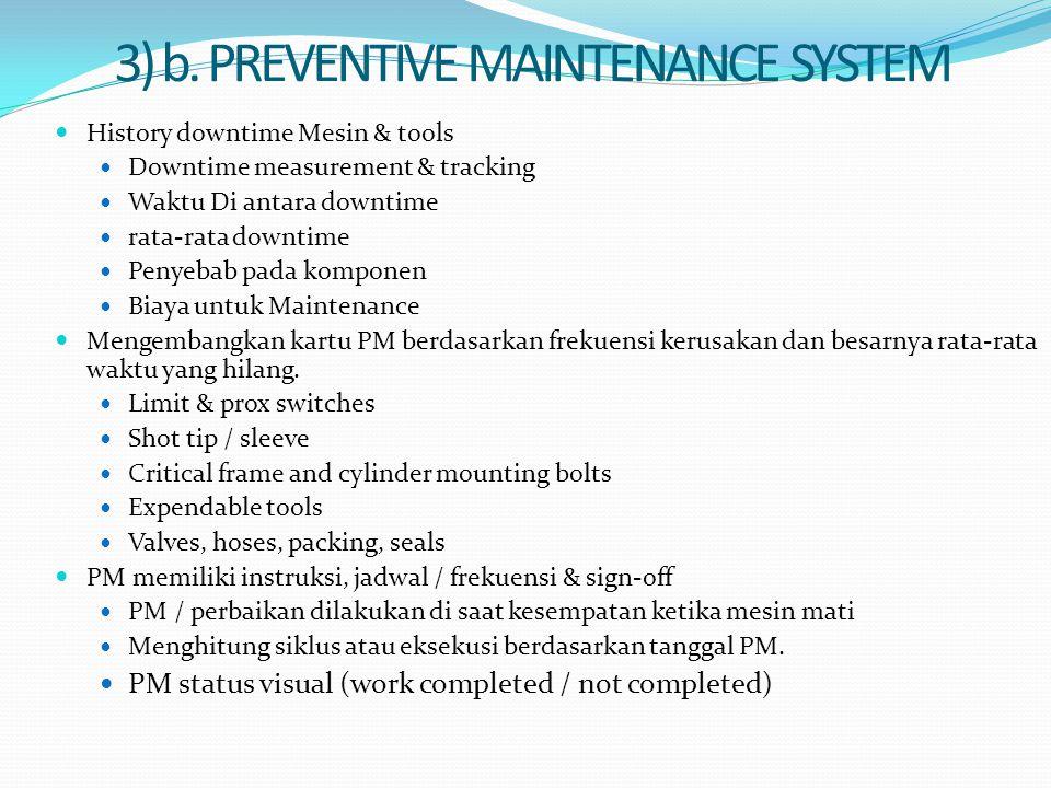 3) b. PREVENTIVE MAINTENANCE SYSTEM History downtime Mesin & tools Downtime measurement & tracking Waktu Di antara downtime rata-rata downtime Penyeba