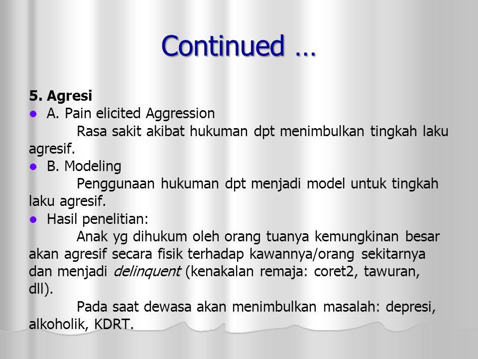 Continued … 5. Agresi A. Pain elicited Aggression Rasa sakit akibat hukuman dpt menimbulkan tingkah laku agresif. B. Modeling Penggunaan hukuman dpt m