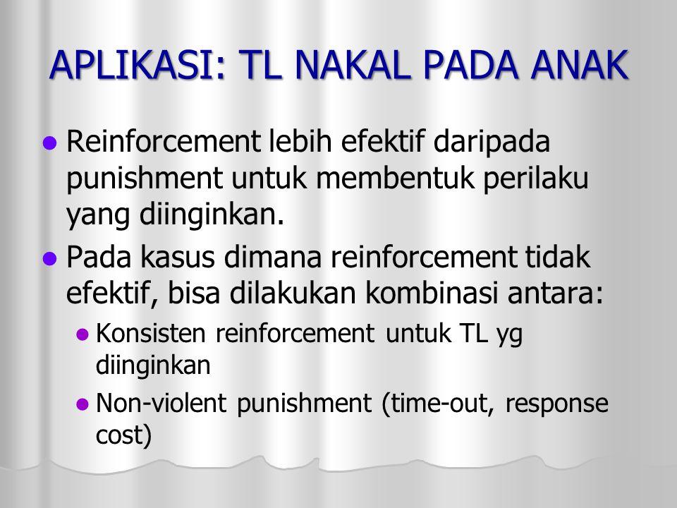 APLIKASI: TL NAKAL PADA ANAK Reinforcement lebih efektif daripada punishment untuk membentuk perilaku yang diinginkan. Pada kasus dimana reinforcement
