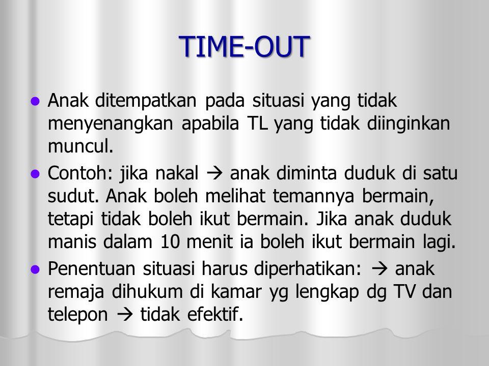 TIME-OUT Anak ditempatkan pada situasi yang tidak menyenangkan apabila TL yang tidak diinginkan muncul. Contoh: jika nakal  anak diminta duduk di sat