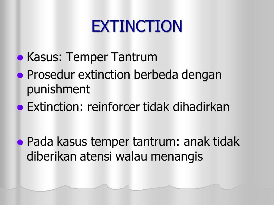 EXTINCTION Kasus: Temper Tantrum Prosedur extinction berbeda dengan punishment Extinction: reinforcer tidak dihadirkan Pada kasus temper tantrum: anak