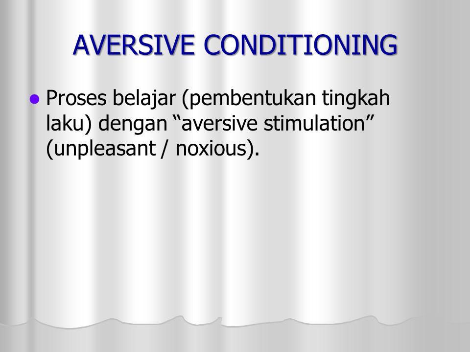 "AVERSIVE CONDITIONING Proses belajar (pembentukan tingkah laku) dengan ""aversive stimulation"" (unpleasant / noxious)."