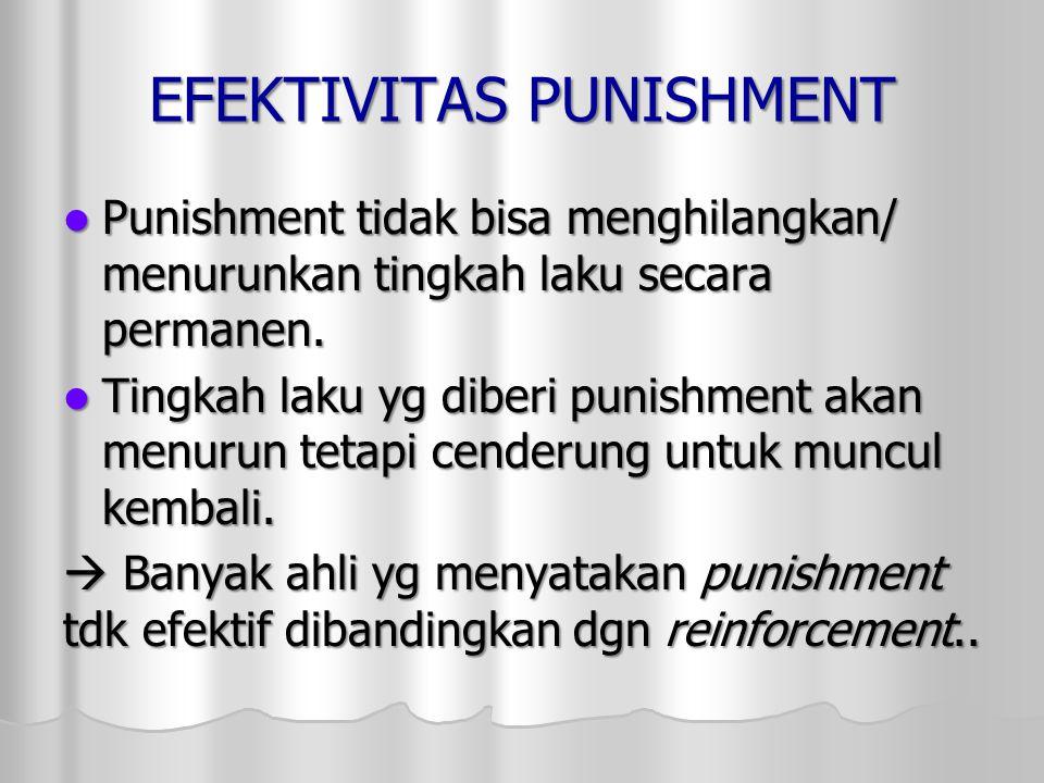 EFEKTIVITAS PUNISHMENT Punishment tidak bisa menghilangkan/ menurunkan tingkah laku secara permanen. Punishment tidak bisa menghilangkan/ menurunkan t