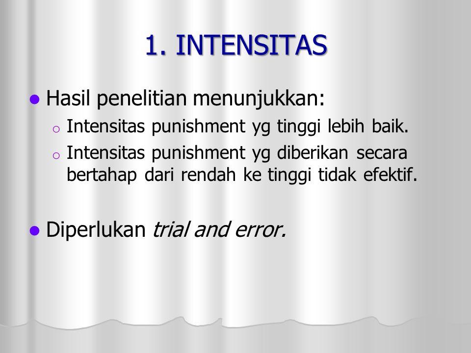 1. INTENSITAS Hasil penelitian menunjukkan: o o Intensitas punishment yg tinggi lebih baik. o o Intensitas punishment yg diberikan secara bertahap dar