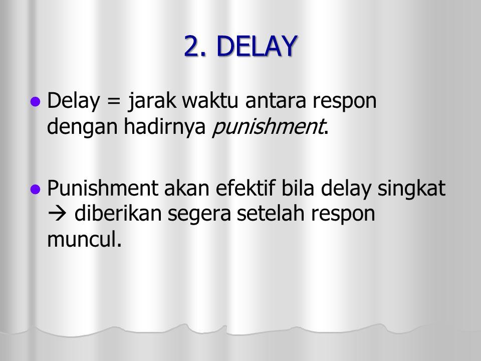 2. DELAY Delay = jarak waktu antara respon dengan hadirnya punishment. Punishment akan efektif bila delay singkat  diberikan segera setelah respon mu