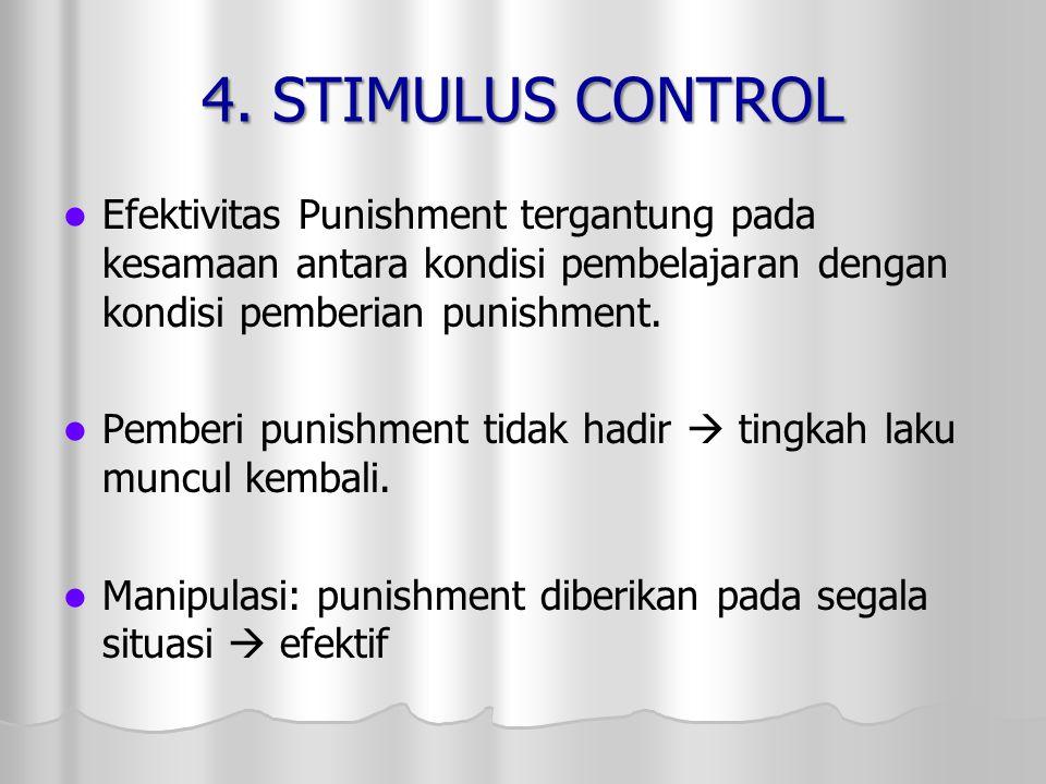 4. STIMULUS CONTROL Efektivitas Punishment tergantung pada kesamaan antara kondisi pembelajaran dengan kondisi pemberian punishment. Pemberi punishmen