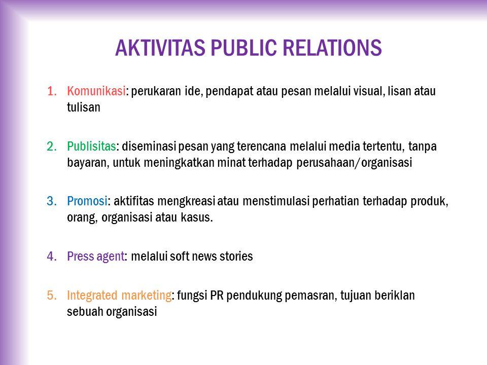 AKTIVITAS PUBLIC RELATIONS 1.Komunikasi: perukaran ide, pendapat atau pesan melalui visual, lisan atau tulisan 2.Publisitas: diseminasi pesan yang ter