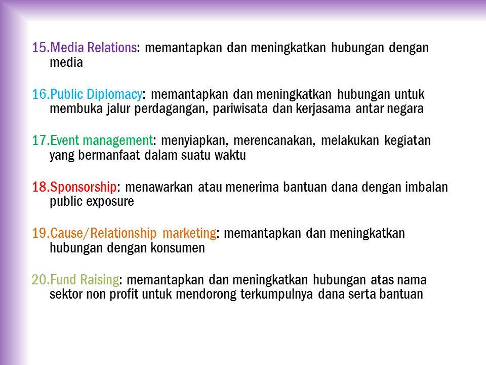 15.Media Relations: memantapkan dan meningkatkan hubungan dengan media 16.Public Diplomacy: memantapkan dan meningkatkan hubungan untuk membuka jalur