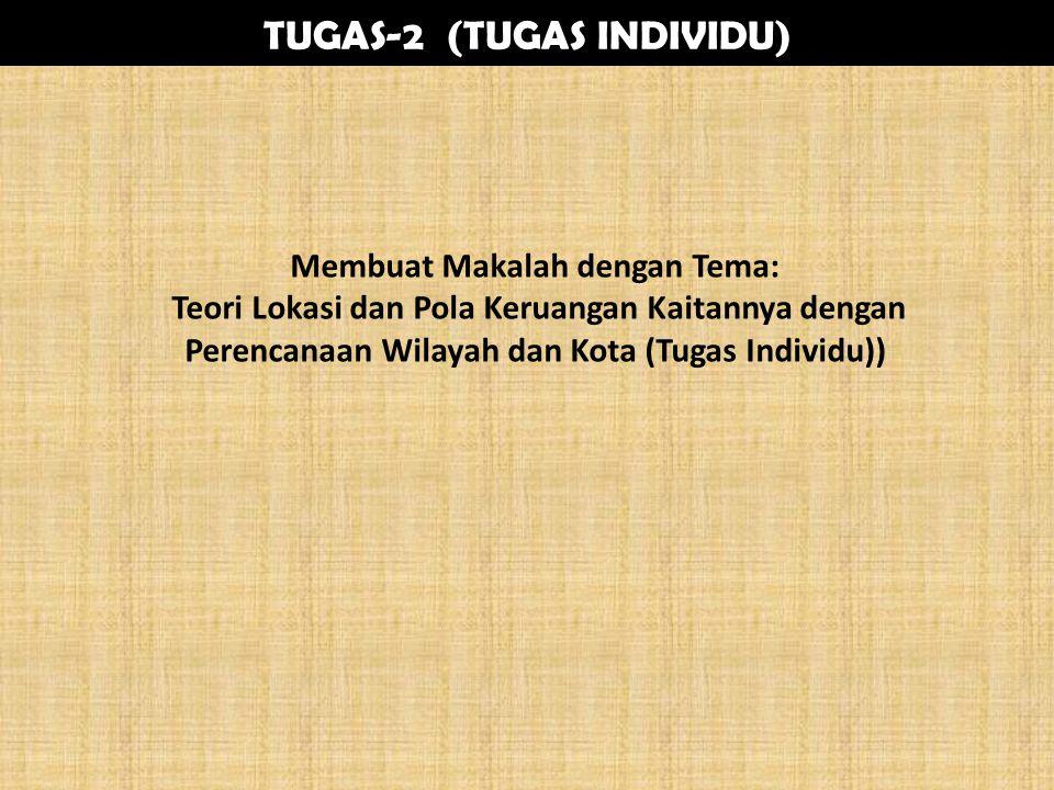 TUGAS-2 (TUGAS INDIVIDU) Membuat Makalah dengan Tema: Teori Lokasi dan Pola Keruangan Kaitannya dengan Perencanaan Wilayah dan Kota (Tugas Individu))