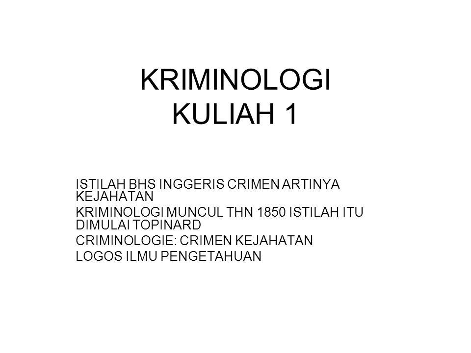 KRIMINOLOGI KULIAH 1 ISTILAH BHS INGGERIS CRIMEN ARTINYA KEJAHATAN KRIMINOLOGI MUNCUL THN 1850 ISTILAH ITU DIMULAI TOPINARD CRIMINOLOGIE: CRIMEN KEJAHATAN LOGOS ILMU PENGETAHUAN